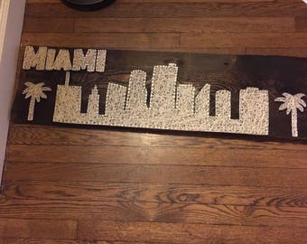 Custom Made to Order Miami or Other City Skyline String Art