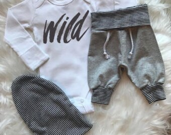 BABY BOY/Baby Boy Coming Home Outfit/Baby Shower Gift/Baby Boy Clothes/Woodland/Baby Gift/New Mom Gift/Beanie/Jogger/Newborn Romper