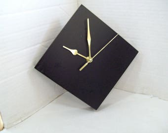 Black Shelf or Wall Clock, Recycle Re-purpose Free Shipping Z4