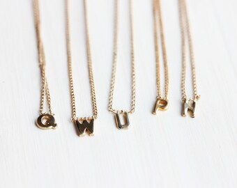 Gold Filled Letter Necklace - N,P,Q,U,W