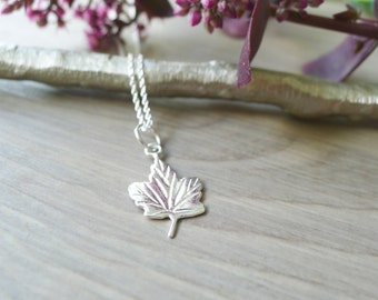 Sterling Silver, Canada Necklace, Canadian Maple Leaf, Canadian Apparel, Canadian Jewelry, Sterling Canada, Patriotic Jewelry, Simple Canada