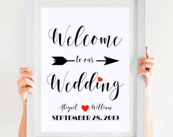 Welcome Wedding Sign Large Wedding Decor Welcome To Our Wedding Printable Elegant Wedding Entrance Sign Ceremony Sign #CWS305_15C