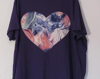 Rainbow Heart T-shirt - xxl 90s y2k purple oil marble cute kawaii art harajuku