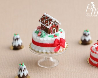 MTO -Christmas Cake Decorated with Tiny Gingerbread House - Miniature Food in 12th Scale for Dollhouse