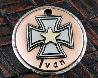 Personalized Dog ID Tag-Maltese Cross Dog ID Tag-Dog Collar Tag-Custom Pet ID Tag