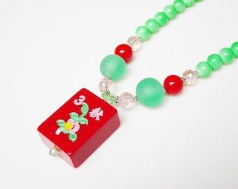 Mah Jong Necklace / Handmade / Red Tile / Flower Tile / Mahjong / Mah Jong Gift / Gift for Her / Asian / Jewish / Jewish Gift / Gift for Her