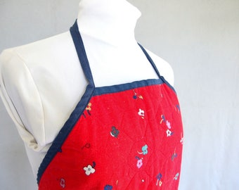 Reversible Quilted Apron, Vintage BBQ Apron