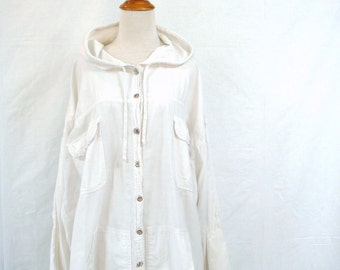80s OVERSIZED ANORAK lightweight cotton jacket hooded slouchy M one size
