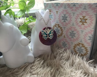 Polymer clay Butterfly charm necklace ~ Fimo