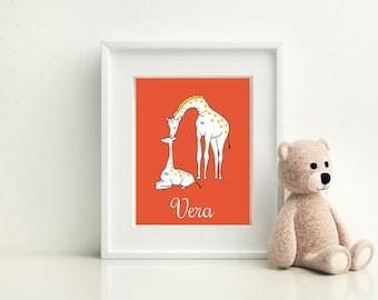 "Giraffe Nursery Art, 8""x10"" Wall Print, Mama and Baby Giraffe"