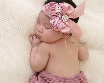 baby headband, fancy headband, bow headband,  dusty rose headband, infant headband, newborn headband, girls headband, toddler headband, baby