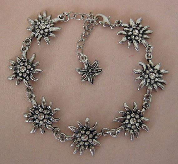 bracelet 7 Edelweiss flowers gentian rhinestones crystals