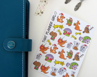 Australian Christmas Animal Stickers - Perfect for decorating your Erin Condren Planner - Aussie X-mas - Holiday Season