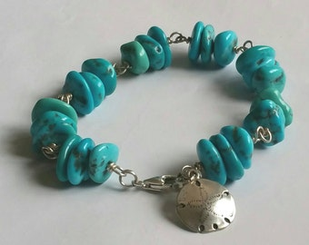 Arizona Sleeping beauty turquoise nuggets and Fine Silver Sand dollar charm bracelet