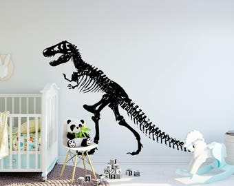 T-Rex Skeleton Wall Decal, T-Rex Skeleton Decor, Living Room Decor, Bedroom Decor, Dinosaur Decor - Trex Wall Decal