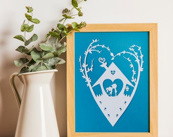 First Home Gift / Romantic Papercut / Paper Cut New Home Gift / Anniversary Gift / First Home Papercut / Home Sweet Home / Gift For New Home