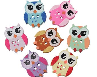 5 buttons 2 holes - 21x17mm - OWL - OWL Colores - wooden