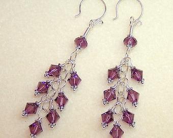 Purple Cluster Earrings for Women Silver Dangle Amethyst Crystal Handmade Jewelry Canada