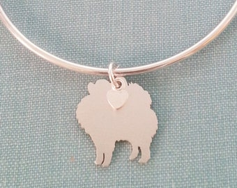 Pomeranian Dog Bangle Bracelet, Sterling Silver Personalize Pendant, Breed Silhouette Charm, Rescue Shelter, Birthday Gift