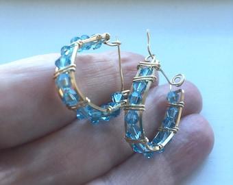 Crystal Hoop Earrings, Gold Filled Hoops, Light Blue Earrings, Blue Hoop Earrings, Swarovski Crystal Hoops,  Ready to Ship