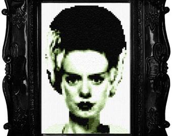 Classic Bride of Frankenstein Cross Stitch Pattern