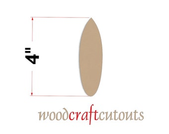 One Small 4 inch long Unfinished Wood MDF Surfboard Craft Cutout Shape - Round Tail