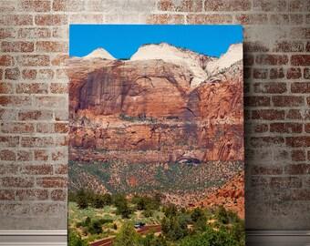 Zion Canyon Wall, Utah Photography, Southwest Landscape Print, Desert Photography, Road Wall Art, Large Utah Decor, Red and Orange, Geology