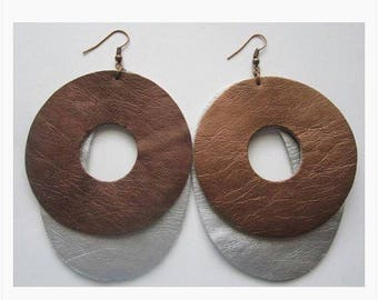 Ringo Brown and Silver Leather earrings