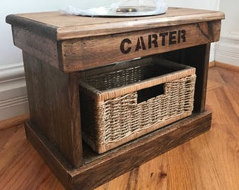 """Reclaimed pallet dog bowl stand pet furniture 16.5"""" l x 11"""" wide x 12"""" t custom sizes chestnut finish"""