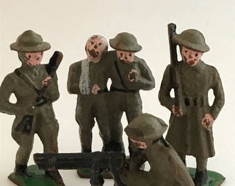 Lead Soldiers - Five Vintage War Figures - Metal Toy Soldiers - Collectible World War Soldiers - Five Soldier Figurines