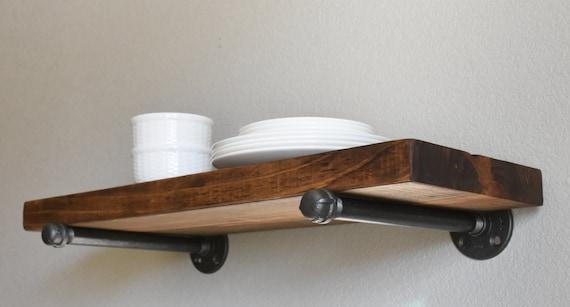 8 Depth Rustic Industrial Wood Pipe Shelf Industrial
