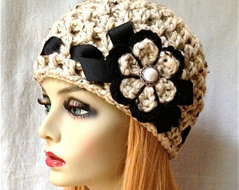 SALE Crochet Womens Hat, Beanie, Oatmeal, Very Soft Chunky Wool, Flower, Ribbon, Warm, Teens, Winter, Ski Hat, JE808B2
