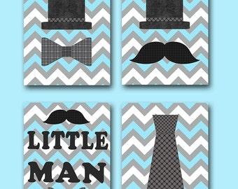 INSTANT Little Man DOWNLOAD Print Baby Nursery Decor Digital Art Baby Boy Nursery Art Printable Art Digital Download Art Set of 4 8x10 11X14