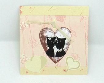 Simple pink and beige Valentines card, couple of cats hearts you and me