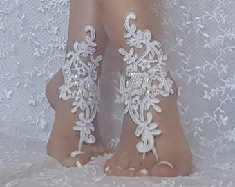 White or ivory Beach wedding barefoot sandals Ivory Barefoot, gift idea, bridal barefoot sandals