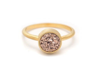 Rose Gold Druzy Quartz Ring - 18k Gold Vermeil - Bezel Set - Round - Available in sizes 4.5, 5, 5.5, 6, 6.5, 7, 7.5, 8, 8.5, 9, 9.5 and 10