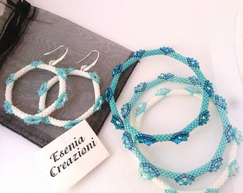 White hoop earrings with Swarovski. Turquoise Bracelets with Swarovski crystals