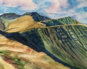 Pen y Fan, Brecon Beacons, Wales, Wales painting, Welsh landscape, South Wales, Wales watercolor, watercolor landscape, Welsh mountains