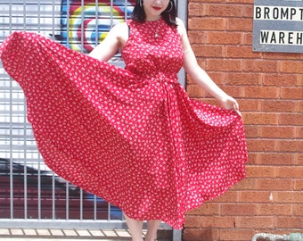 Vintage 1990's does 1950's Red Full Circle High Neck Dress With Matching Belt Size AU12-14