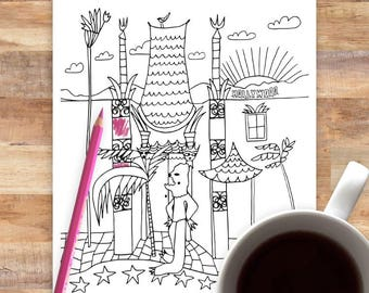 Instant Download Coloring   Chinese Theater Hollywood   Los Angeles   Coloring Page