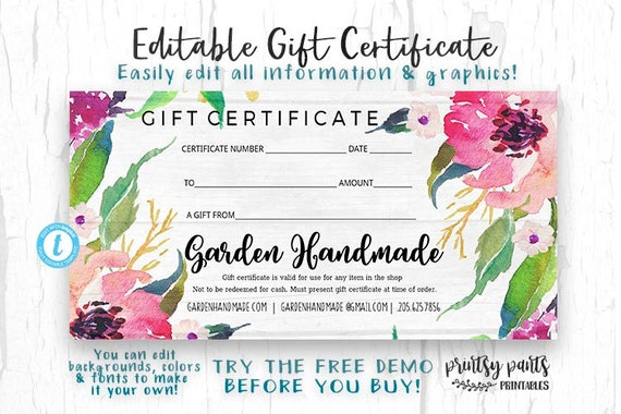 Editable gift certificate garden voucher printable gift editable gift certificate garden voucher printable gift cert gift certificate instant download business templates shop voucher yadclub Image collections