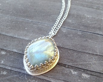 Labradorite Sterling Silver Cabochon Necklace