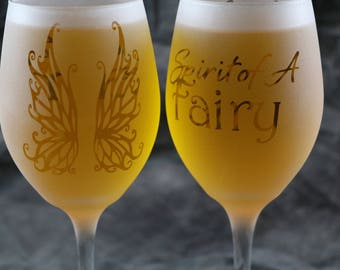 Spirit of a Fairy etched frosted white wine glasses set of 2