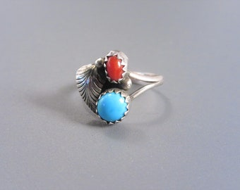 Petite Vintage Native American Sterling Turquoise Coral Ring Size 5