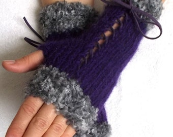 Hand Knit Fingerless Corset Gloves Women Wrist  Warmers in Grey and Violet