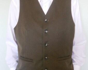 Dark khaki green wool clasic men's vest, size XXL, ready to ship