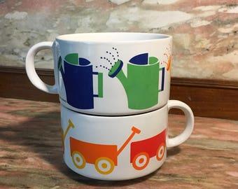Soup Mug Set 1980s Rainbow WATERING CANS & WAGONS Korea Grant Howard