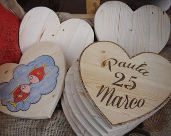 Reused wooden hearts