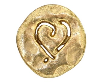 6 Etched Heart 5/8 inch ( 15 mm ) Metal Buttons Antique Gold Color