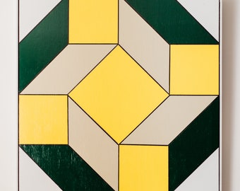 Tan, Green, and Yellow Barn Quilt